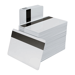 Bundle of stacked plastic magnetic stripe cards