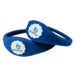 blue contactless wristbrand with BadgePass logo