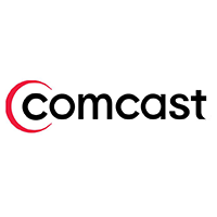 Logo with an eclipse resembling a red letter C wrapped around the C in Comcast text.