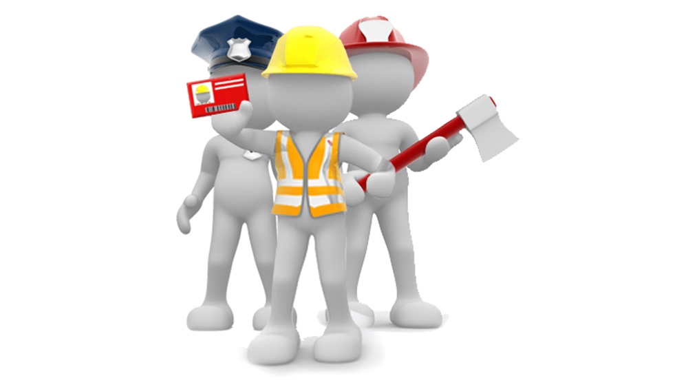 Image of three 3-dimensional characters, one being a police officer, another being a construction worker and the final one being a fire fighter