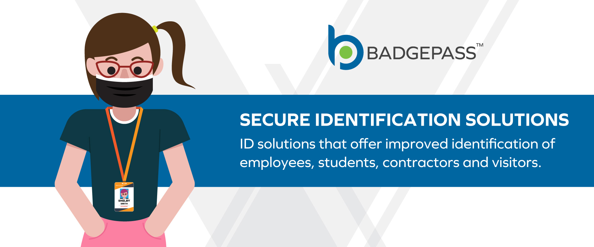 vector illustration of woman wearing a face mask on BadgePass themed template