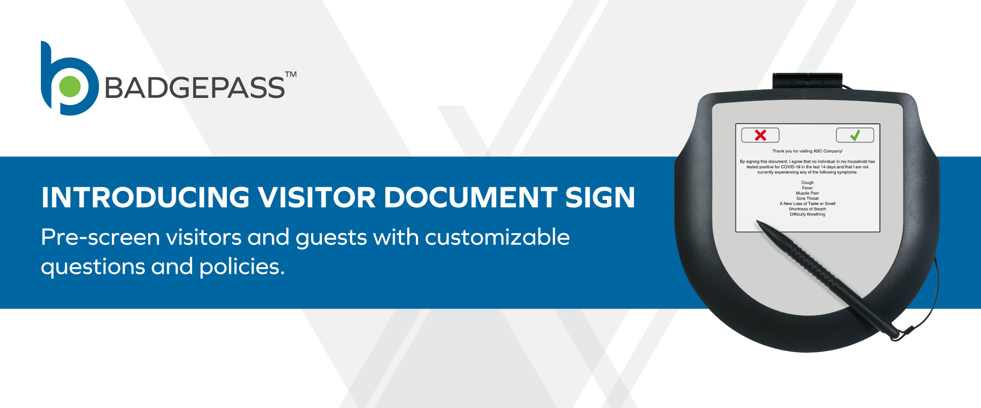 Image of Signature Pad with custom on BadgePass themed template