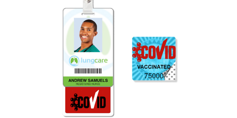 Vertical badge holder with badge and proof of COVID vaccination tab